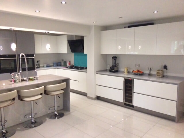 grey granite worktop and floor tiles